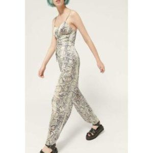 Urban Outfitters Blythe Snakeskin Print Jumpsuit L